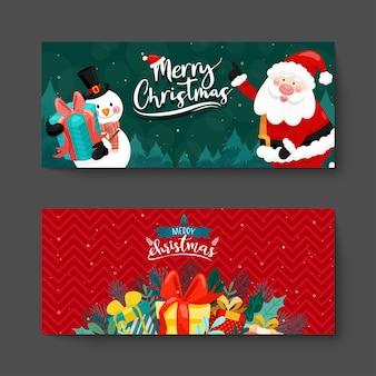 Merry christmas card con babbo natale, pupazzo di neve e confezione regalo.