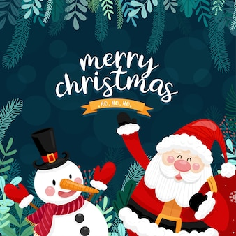 Merry christmas card with santa, snowman and gift box.