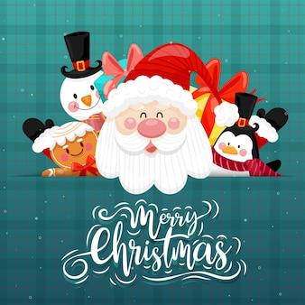 С рождеством христовым открытка с дедом морозом, снеговиком, пингвином и подарочной коробкой.