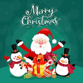 Merry christmas card with santa, snowman, penguin and gift box.