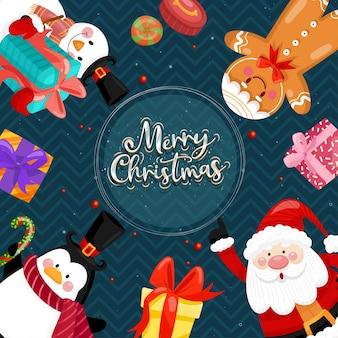 Merry christmas card con babbo natale, pupazzo di neve, pinguino e confezione regalo.