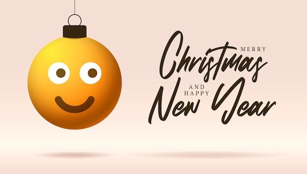 笑顔の絵文字顔のメリークリスマスカード。クリスマスボールのクリスマスのレタリングと感情とフラットスタイルのベクトルイラストは、背景のスレッドに掛かっています
