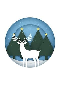 クリスマスツリーに降雪と紙のカットの円形フレームのトナカイとメリークリスマスカード