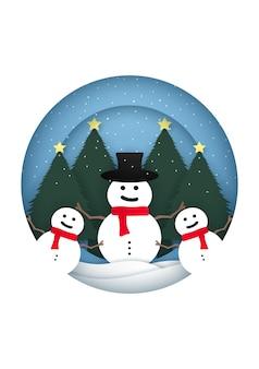 クリスマスツリーに降雪と円形フレームの雪だるまとメリークリスマスカード私は紙をカットしました