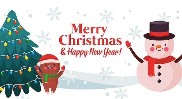 Веселая рождественская открытка со снеговиком и имбирным печеньем. векторная иллюстрация
