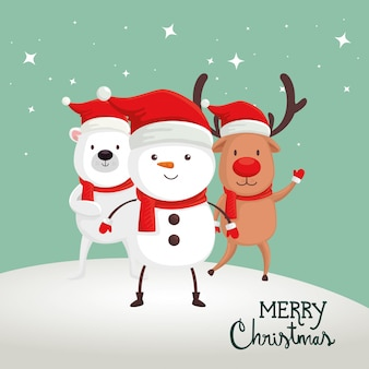 Merry christmas card with snowman and animals