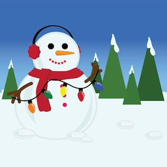Merry christmas card with snowman holding lights