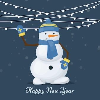 雪だるまとメリークリスマスカード。休日の装飾のための新年の挨拶cad。かわいい凍った雪だるまのキャラクター。雪だるまベクトルイラストと冬の雪の招待状。