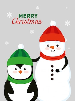 Merry christmas card with snowman and penguin