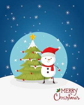 Merry christmas card with snowman and pine tree