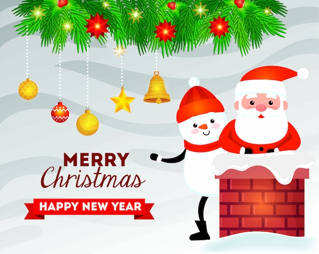 Merry christmas card with snowman and santa claus