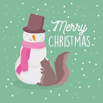 Merry christmas card with snowman squirrel snowflakes