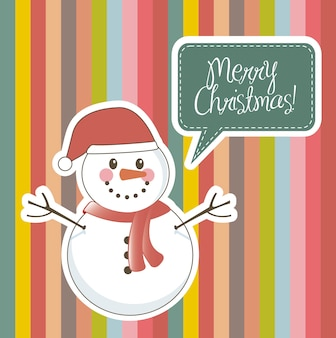 Merry christmas card with snowman over stripes vector illustration