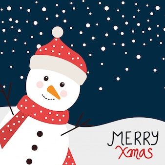 Merry christmas card with snowman in winter landscape