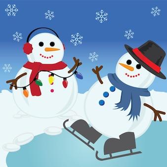 冬の雪だるまとのメリークリスマスカード