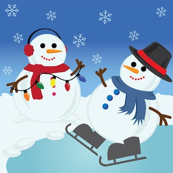 Merry christmas card with snowmen in winter
