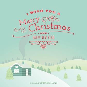 Веселая рождественская открытка с снежный пейзаж