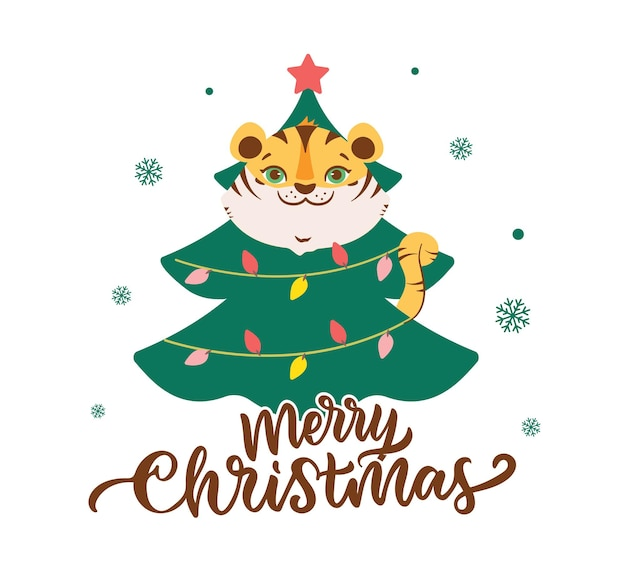 The merry christmas card with tiger the head animal with funny tree is good for holiday designs