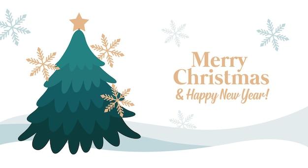Веселая рождественская открытка с деревом между снежинками. векторная иллюстрация
