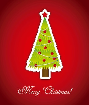 Merry christmas card with tree over red background vector