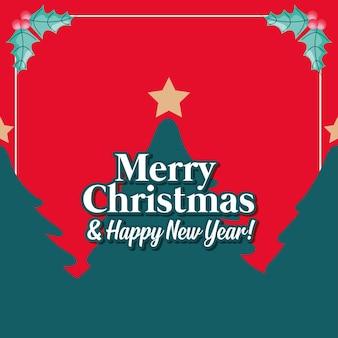 Веселая рождественская открытка с деревьями и звездой. векторная иллюстрация