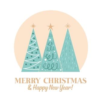 Веселая рождественская открытка с деревьями. векторная иллюстрация
