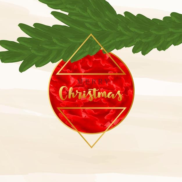 水彩画のテクスチャと黄金の幾何学的な形のベクトルのトレンディな背景を持つメリークリスマスカード