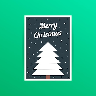 Merry christmas card with white xmas tree. concept of traditional, a4 header, decorative, ornate, event party. isolated on green background. flat style trend modern postal design vector illustration