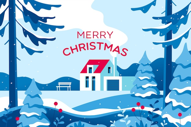 Веселая рождественская открытка с зимним пейзажем
