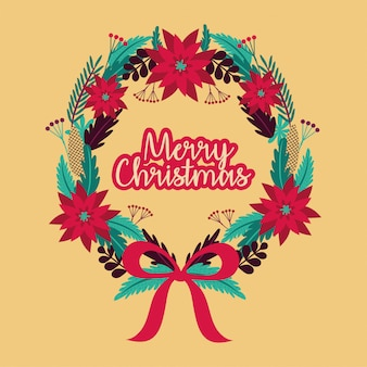 Merry christmas card with wreath crown vector illustration design