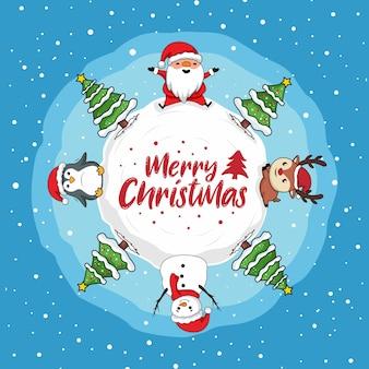 メリークリスマスカードグローブサンタクロースのトナカイペンギンスノーマン