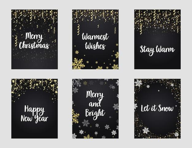 메리 크리스마스 카드 휴일 축제 황금 반짝이 포스터.