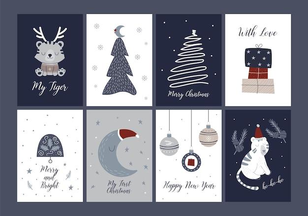 메리 크리스마스 카드 휴일 축제 그림은 손으로 그린 스칸디나비아 스타일입니다. 호랑이 인사말 카드 재미 있는 정글 동물. 크리스마스와 새해 6 카드 컬렉션입니다. 겨울 휴가 카드 템플릿입니다.
