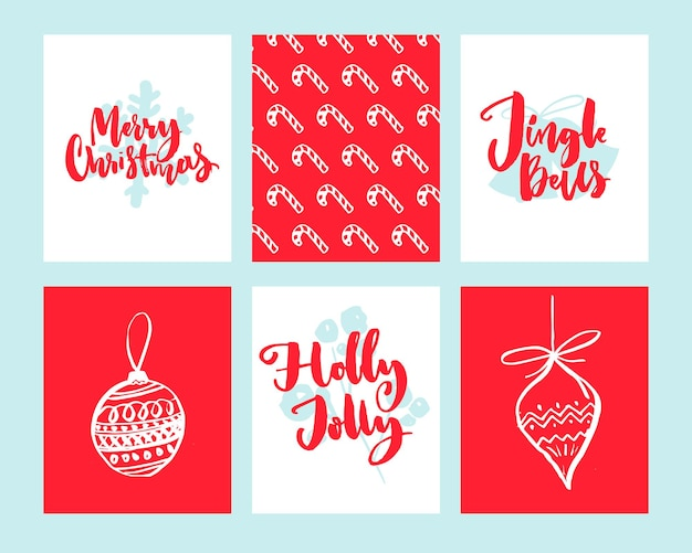 Merry christmas cards set of winter holidays design templates doodle illustration of christmas