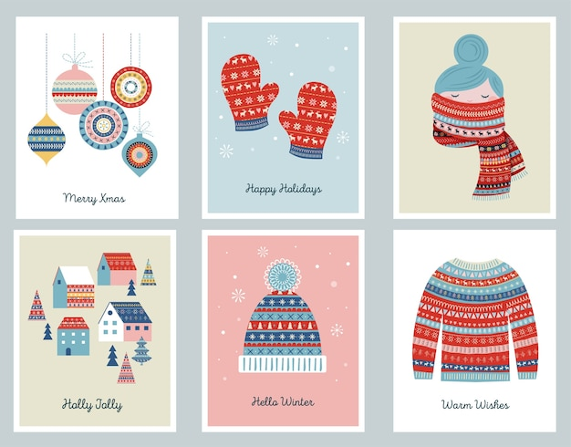 Merry christmas cards with patterned illustrations and elements.