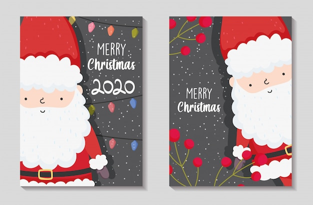 Merry christmas cards with santa claus