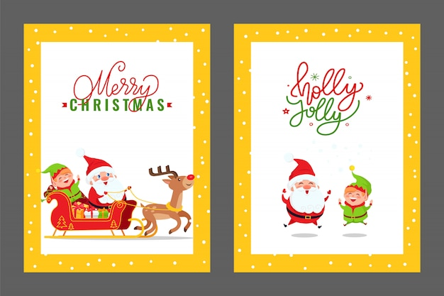 Merry christmas cards with santa, elf and deer