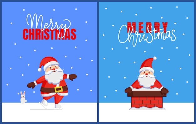 Merry christmas cards with santa look from chimney