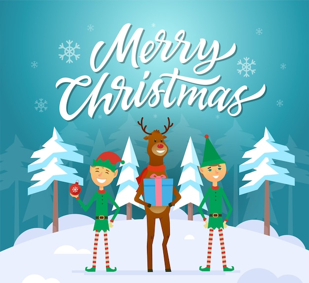 Merry christmas - cartoon characters illustration with calligraphy text on blue snowy background. two smiling elves standing with cheerful reindeer. perfect as a greeting card, invitation, poster