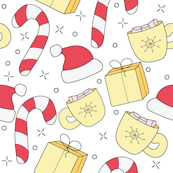 Merry christmas cartoon funny doodle seamless pattern. a seamless vector background.
