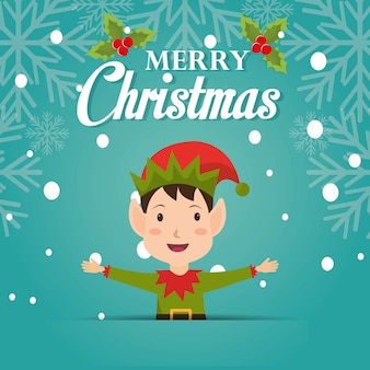 Merry christmas cartoon greeting card design with elf