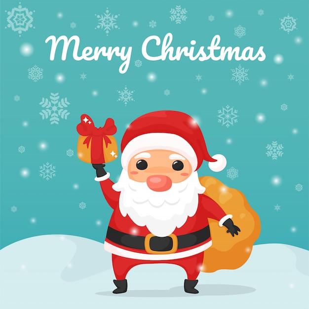 Merry christmas. cartoon santa claus holding a gift box.
