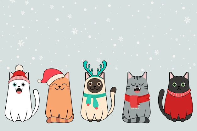 Merry christmas cats, collection of cats in santa claus hats.