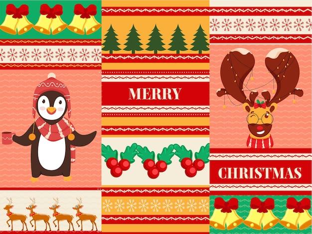 ペンギン、トナカイ、ジングルベル、クリスマスツリー、ホリーベリーのイラストで飾られたメリークリスマスのお祝いの背景。