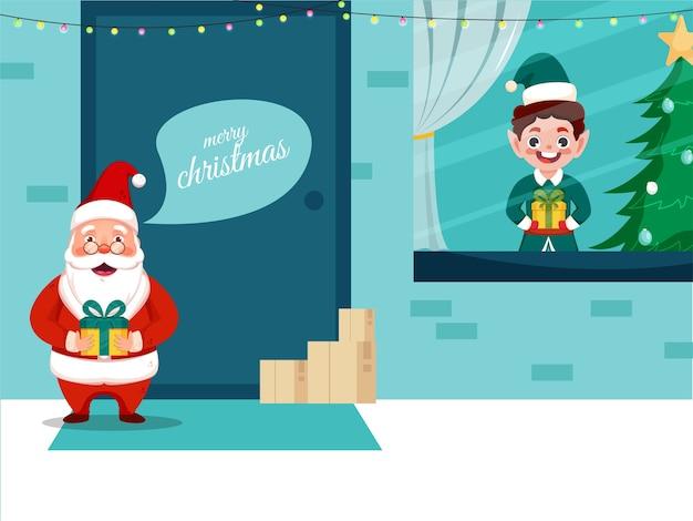 漫画のサンタクロースとギフトボックスを保持している少年とメリークリスマスのお祝いの背景