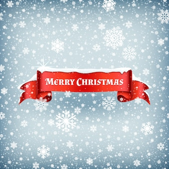 Merry christmas celebration background with falling snow and red banner ribbon vector illustration. xmas ribbon banner with snowflake