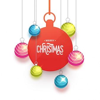 Празднование рождества рождества с висящими шарами рождество