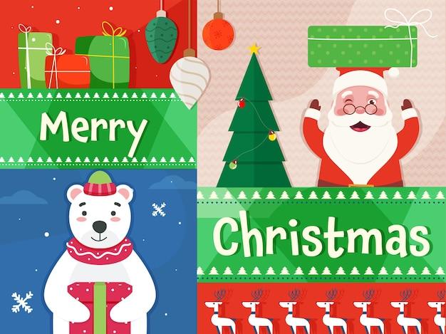 산타 클로스와 북극 맥주 캐릭터와 함께 메리 크리스마스 축 하 배경.