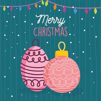 Счастливого рождества, празднование шары огни снежный орнамент