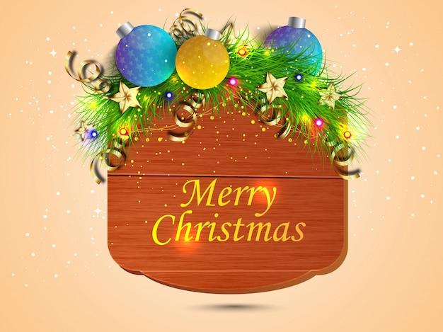 Веселого рождественского баннера с яркими рождественскими шарами, еловыми листьями, звездами на деревянном фоне